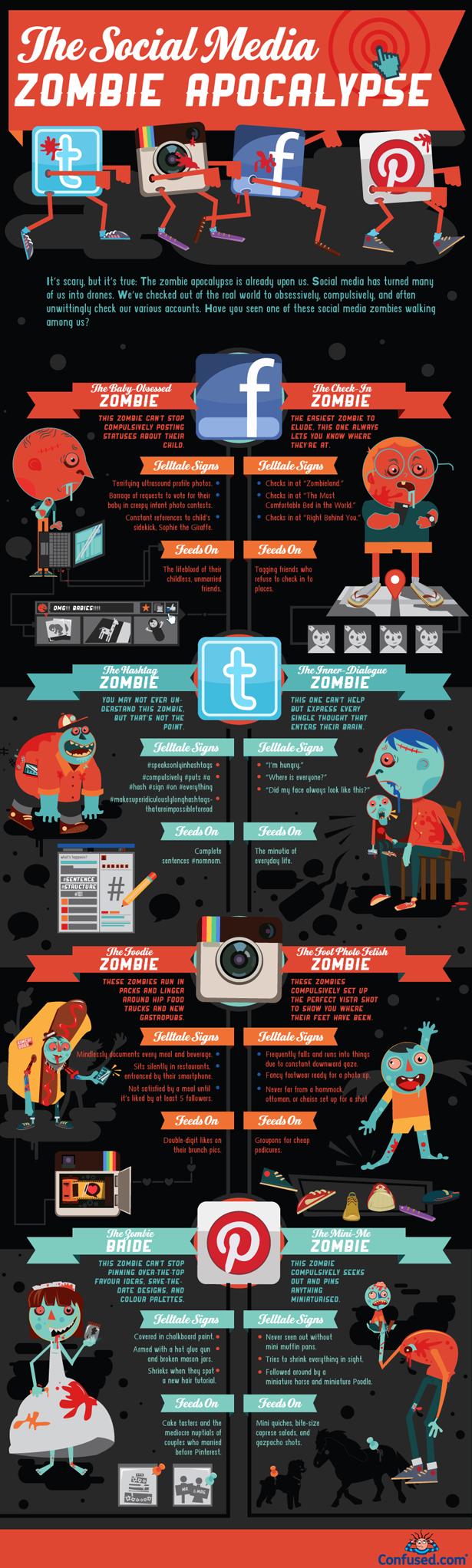Social Media Zombies Sized