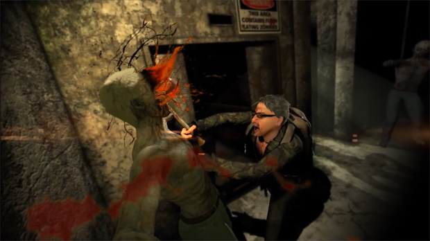 Frame Grab: That's me buring an axe into the face of a zombie!