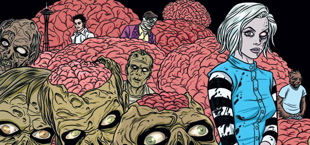 Mike Allred's amazing wraparound cover for the iZombie Omnibus. Copyright Vertigo/DC Entertainment.